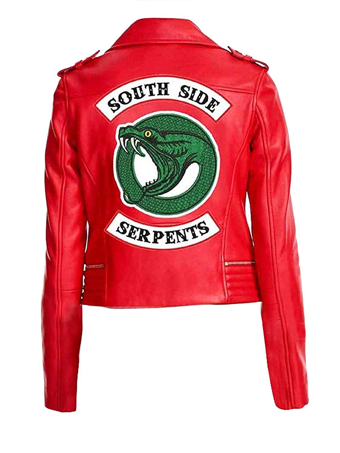 Cling Outfitters Womens Red Real Leather Jacket with Snake Logo