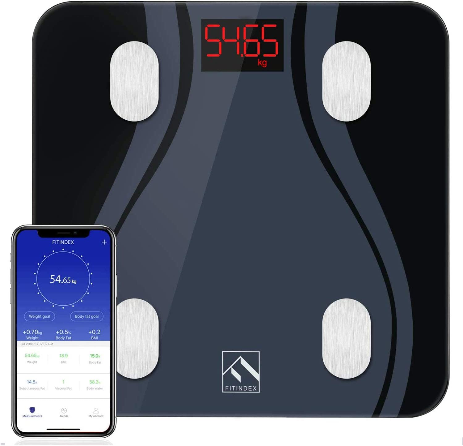 Amazon.com: FITINDEX Smart Bluetooth Body Fat Scale with Upgraded App, High Precision Bathroom Scales Digital Weight and Body Fat Body Composition Monitor, 396lb/180kg, Black: Health & Personal Care