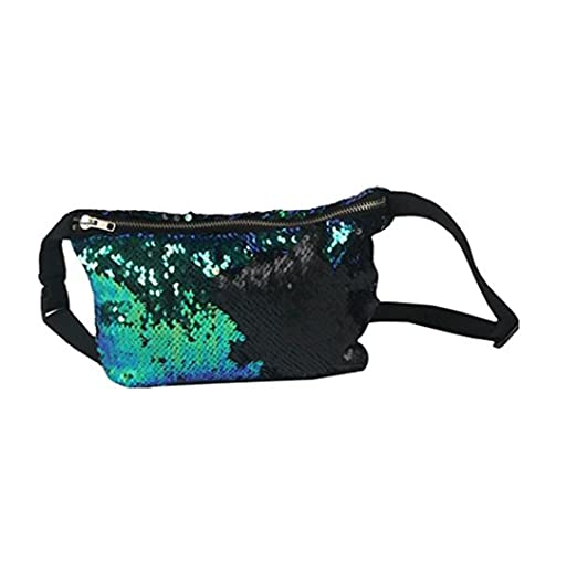 Amazon.com  Reversible Mermaid Sequin Glitter Waist Fanny Pack Belt Bum Bag  Pouch Hip Purse (Colorful Black)  Clothing b50d319584f7