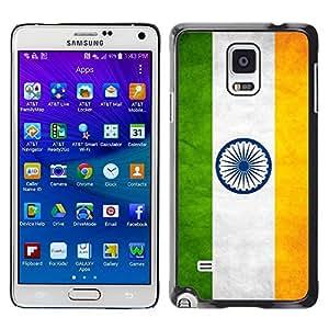 TopCaseStore / la caja del caucho duro de la cubierta de protección de la piel - India Grunge Flag - Samsung Galaxy Note 4 SM-N910