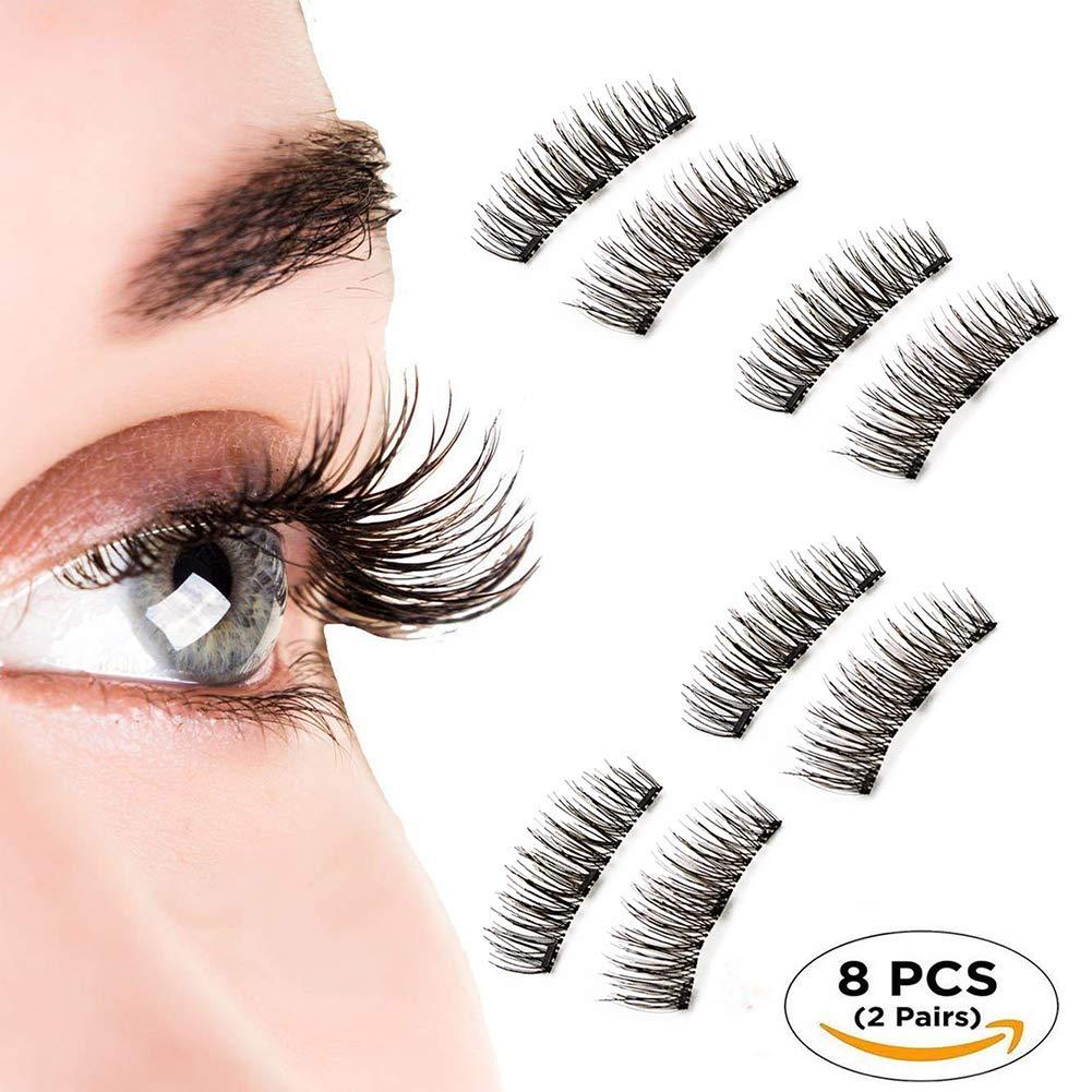 Natural Fake Magnetic Eyelashes, Beatife 3D Three Magnets Ultra Thick Soft and Long for Entire Eyes, Glamorous, Natural Look, Handmade Reusable Eyelashes (Black) 2 Pair/8Pcs