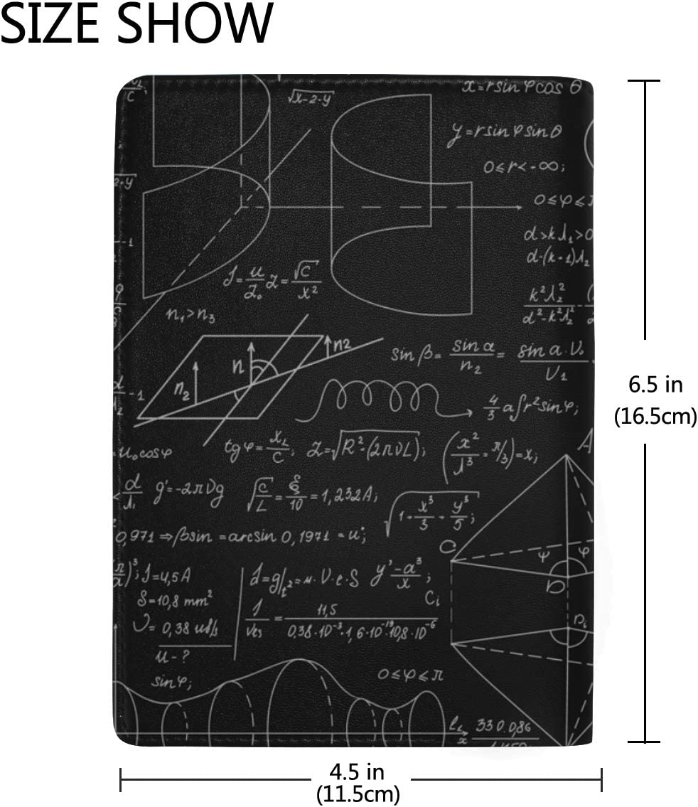 Blackboard Mathematical Graphics And Formulas Blocking Print Passport Holder Cover Case Travel Luggage Passport Wallet Card Holder Made With Leather For Men Women Kids Family