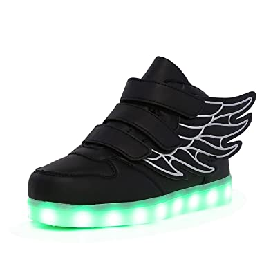 809347a2aada KARKEIN LED Light Up Hi-Top Wings Shoes USB Rechargeable Flashing Sneakers  for Toddlers Kids
