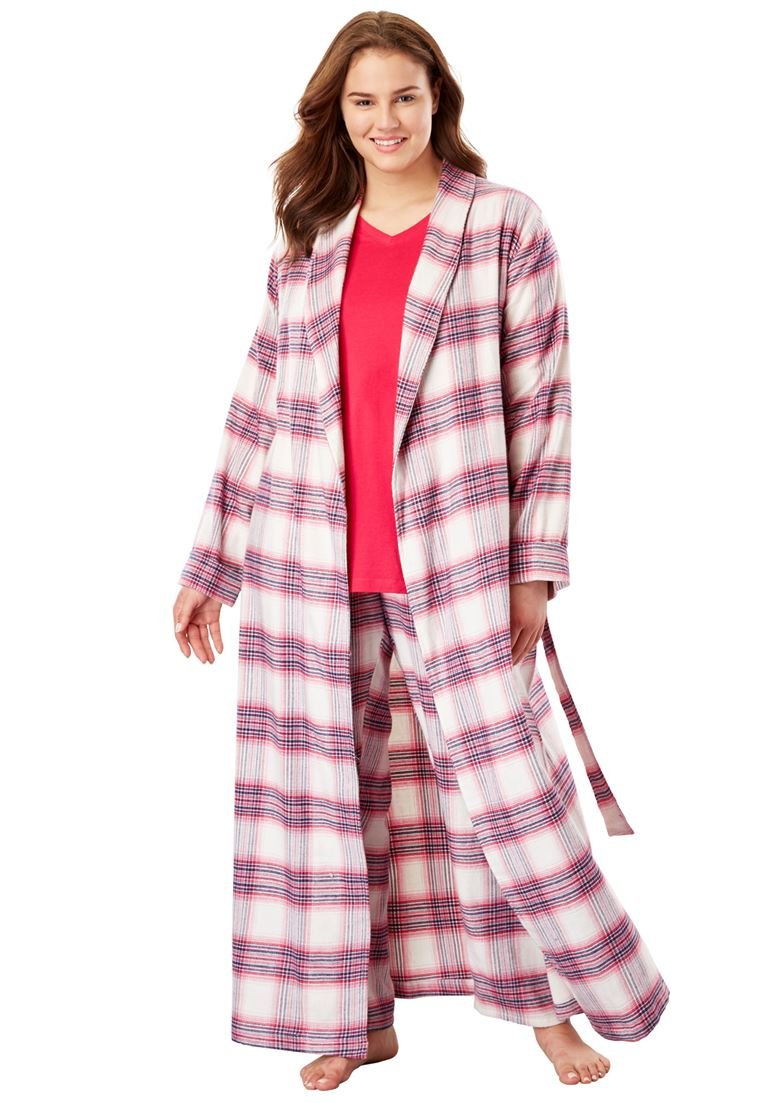 Dreams & Co. Women's Plus Size Long Flannel Robe Pink Plaid,4X