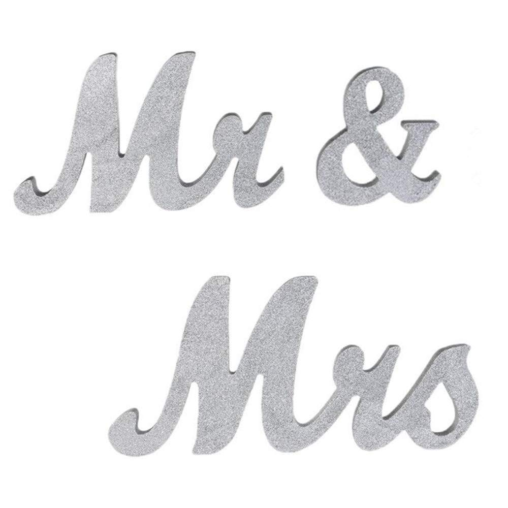 Silver Glitter senover Mr and Mrs Sign Wedding Sweetheart Table Decorations,Mr and Mrs Letters Decorative Letters for Wedding Photo Props Party Banner Decoration,Wedding Shower Gift