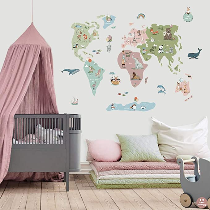 Vinilo Infantil de tela Mapamundi de cuento: Amazon.es: Bebé
