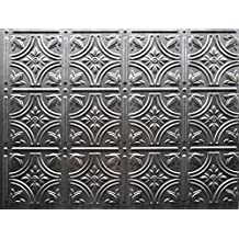Backsplash Wall Coverings - Decorative Thermoplastic Tile 18 X 24 Empire (Crosshatch Silver)