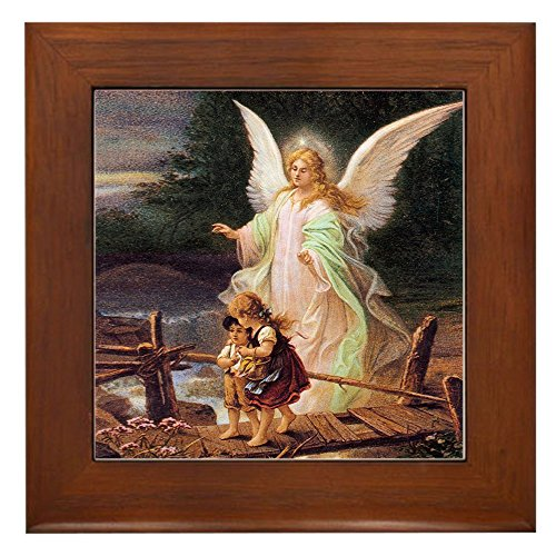 CafePress - Guardian Angel with Children On Bridge - Framed Tile, Decorative Tile Wall - Ceramic Quality Tile Framed Decor