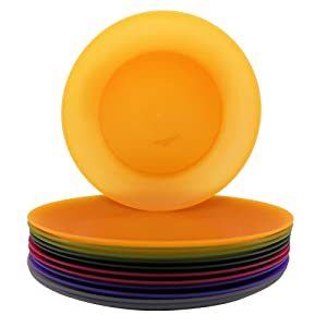 10-inches Dinner Plates Plastic Reusable BPA Free Dishwasher Safe set of 12 in 6 Assorted Colors for Everyday Use
