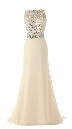 AngelDragon A-Line Rhinestones Tulle Back Evening Gowns Long Prom Dress UK-4 Champagne