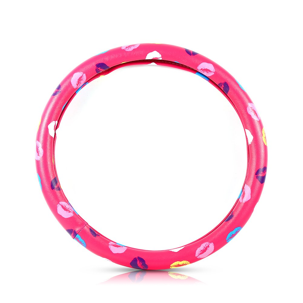 Qiilu Set 38cm/15'' PU Leather Car Steering Wheel Cover Lovely Lip Pattern Case Protector(Rose red)