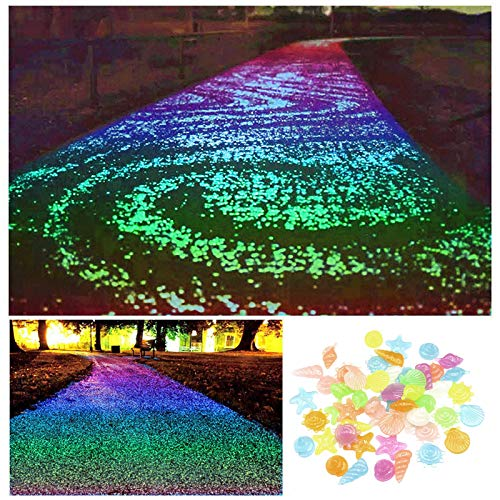 bestheart Glowing Rocks,100+ Glow in The Dark Rocks for Outdoor Decor, Garden Lawn Yard, Aquarium, Walkway, Fish Tank, Pathway, Driveway, Luminous Pebbles Powered by Light (Colorful)