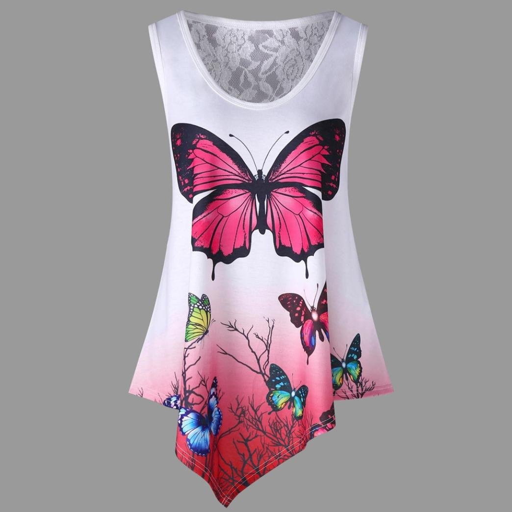 Vovotrade Women Lace Asymmetrical Butterfly Print Tank Top Fashion Ombre Color Sleeveless Vest T Shirt
