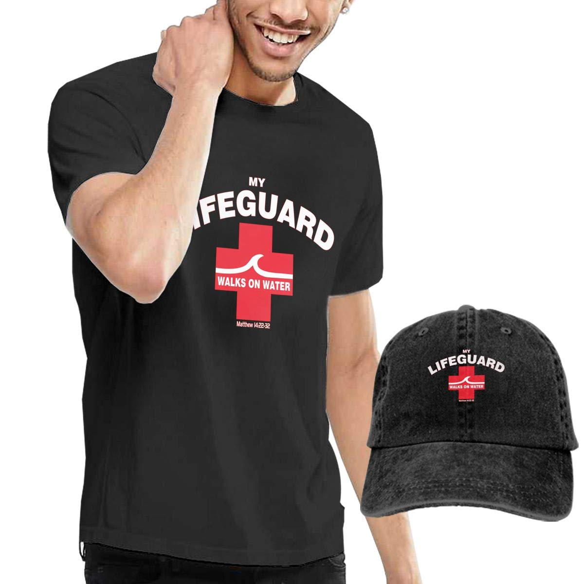 My Lifeguard Walks On Water Adult Mens Summertime T-Shirt and Sports Jean Hat