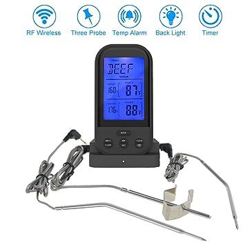 Inalámbrica barbacoa termómetro de carne, termómetro, temporizador de cocina digital Lectura Instantánea termómetro de