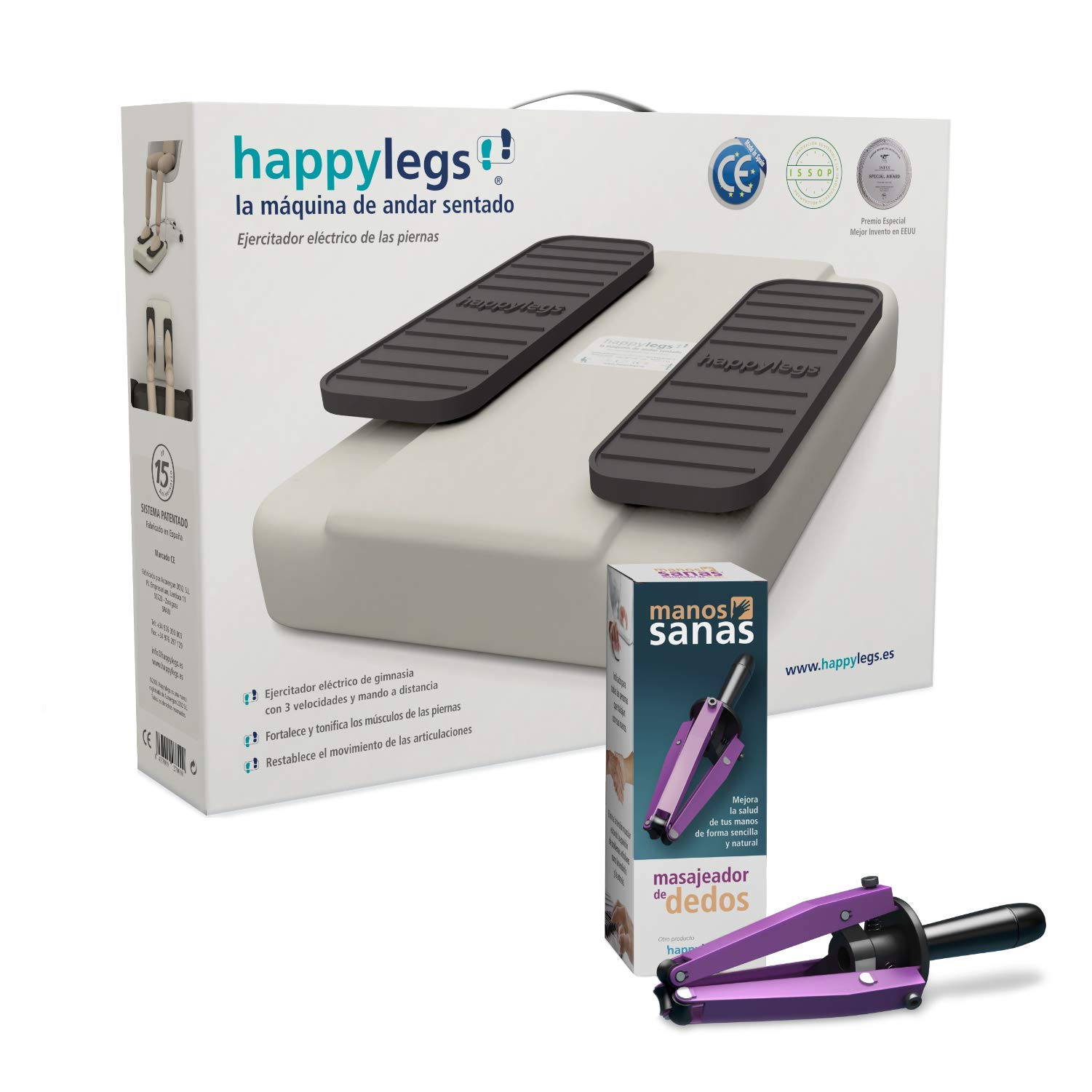 Pack Offer - happylegs Premium with Remote + Manual Finger Massager + Foot Straps