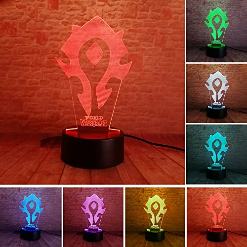 Fanrui World Of Warcraft Movie Horde Tribal WOW Signs 3D Multicolor Night Light 7 Colors Change LED Boys Man Bedroom Table Personalise Decor Lamp Child Kids Adults Teens Xmas Birthday Party Toys Gifts