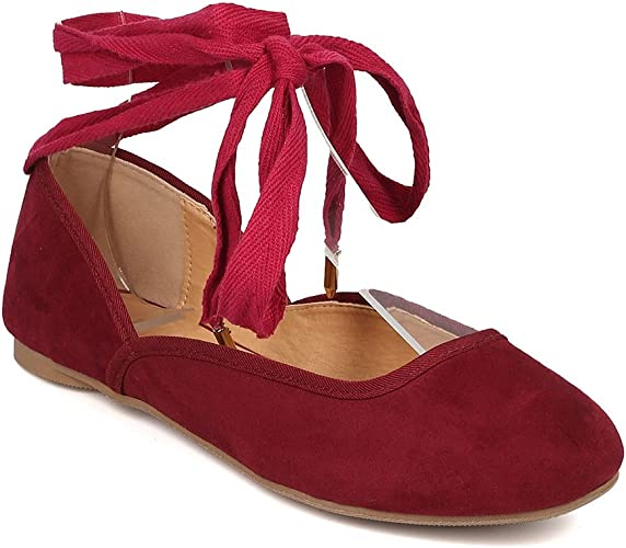 Wild Diva Womens Pointed Toe Sueded Ballet Flat
