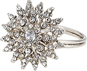 Luna Bazaar Silver Sunburst Jewel Rhinestones Napkin Ring - Set of 4 by Cultural Intrigue - They're sure to add sparkle and glam to any table setting!