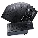 Joyoldelf Cool Black Gold Foil Poker Playing Cards, Waterproof Deck of Cards with Gift Box, Use for Party and Game (Black)