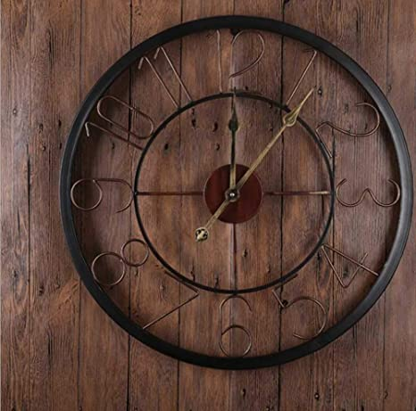 BOYI Reloj Pared Reloj de Pared Vintage de Hierro Forjado. Reloj Digital Mudo Redondo Reloj