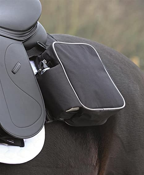 Shires - Alforja para silla de montar a caballo negro negro Talla:talla única