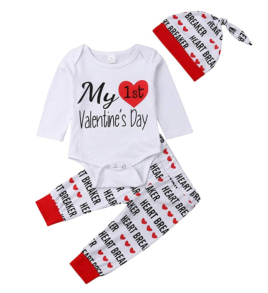 0bfaecfef1c Bowanadacles Newborn Infant Baby Boys Girls My First Valentine s Day Outfit  Long Sleeve Romper Heart Breaker Pants with hat