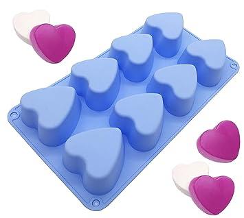 Molde de silicona para tartas con forma de corazón, para hornear magdalenas y jabón Round: Amazon.es: Hogar