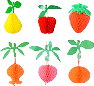 LIZCX 6pcs Honeycomb Tissue Paper Fruit for Hawaiian Beach Party Festival Party Decorations Include Apple Pear Strawberry Pomegranate Peach Orange