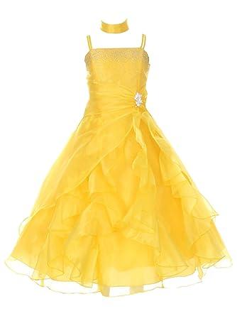 6c5f331f00 Huncho Little Girls Yellow Organza Layered Brooch Accent Flower Girl Dress 4