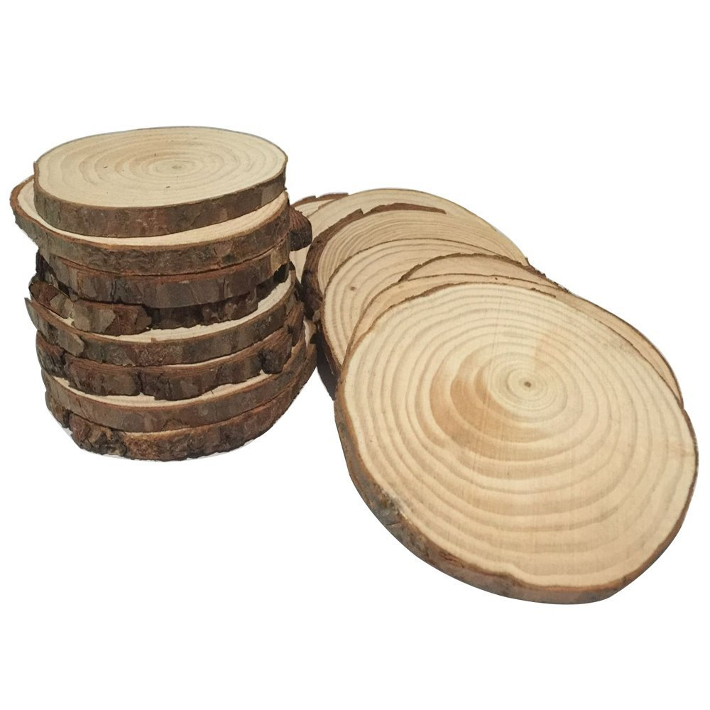 Fuhaieec 10pcs 3.5-4 Unfinished Natural Wood Slices Circles with Tree Bark Log Discs for DIY Craft Rustic Wedding Ornaments