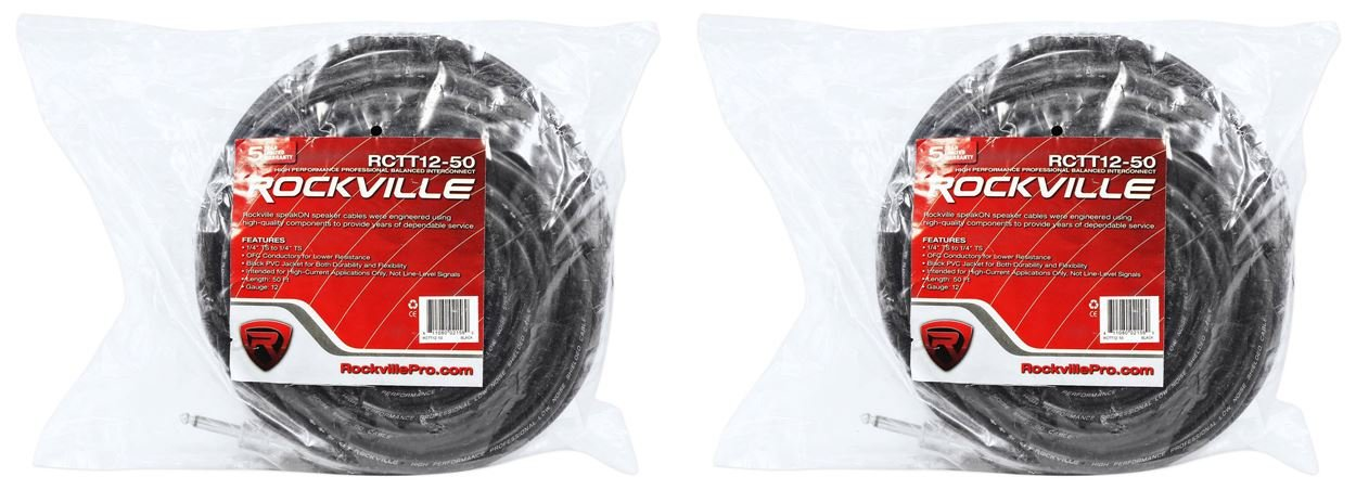 2 Rockville RCTT1250 50' 12 AWG 1/4'' TS to 1/4'' TS Pro Speaker Cable 100% Copper