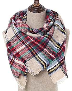 Blanket Scarf Plaid Shawl Women Poncho - Moda Baby Scarves Triangle Sleeve Sweater Long Vest Square Warm Tartan...