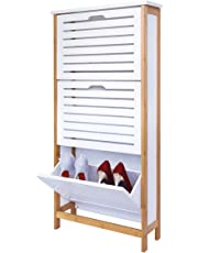 Zapatero de 3 Cajones, Gabinete de Zapatos 3 Puertas 18x53x108.5cm Blanco