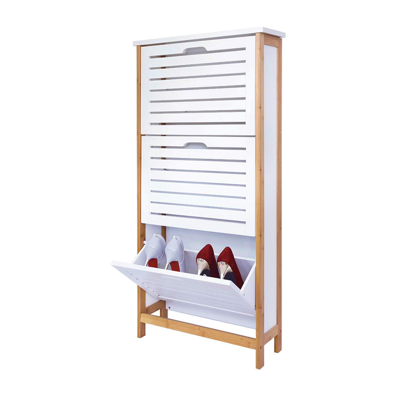 Zapatero de 3 Cajones, Gabinete de Zapatos 3 Puertas 18x53x108.5cm Blanco FUJIAN XINRUIYU IMPORT& EXPORT TRADING CO. LTD
