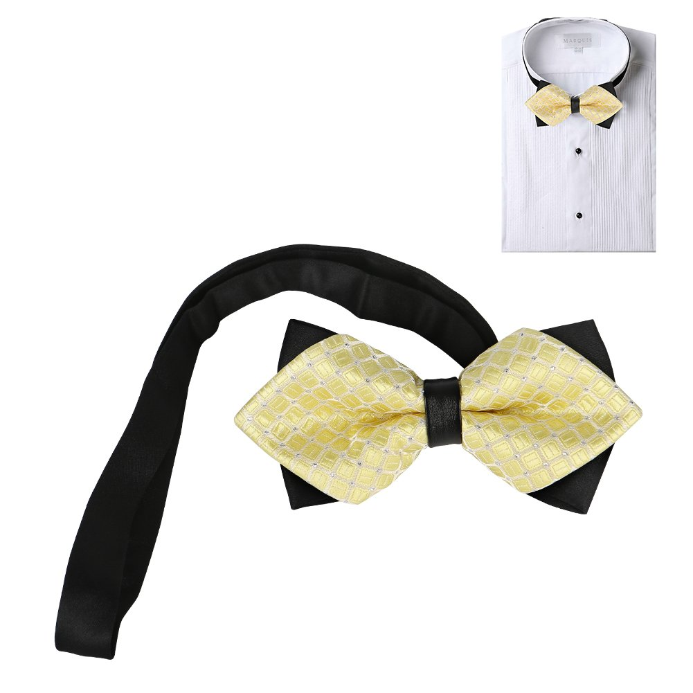 Zomee Tied Bow Ties Elegant Pre-tied Bow Ties Formal Tuxedo Bowtie Set with Adjustable Neck Band Gift Idea For Men And Boys