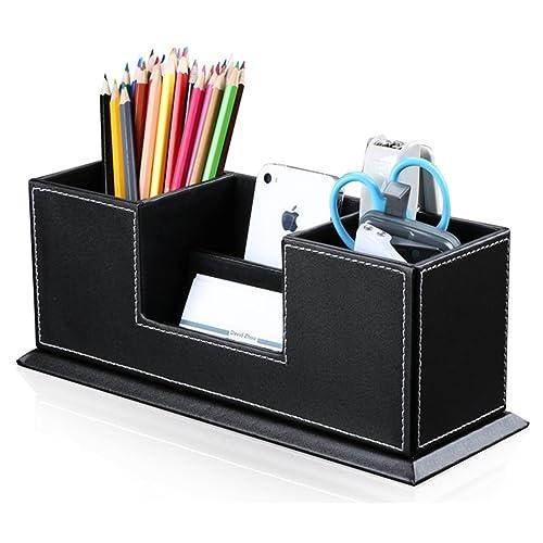 KINGFOM Desktop Organizer Tidy Multifunctional Desk Stationery Storage Double Pen Pencil Holder Office Desk Supplies Organiser Black