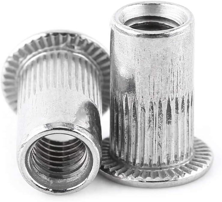 20Pcs M6 Rivet Nuts 1//4-20 UNC Stainless Steel Rivet Nuts Flat Head Rivet Threaded Insert Nut Kit Knurled Blind Rivet Nut Insert M6
