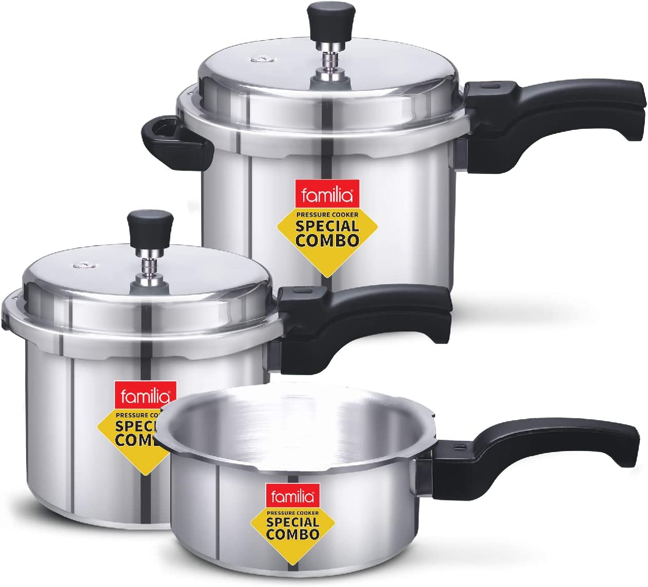Familia FAL-235 Induction Base Aluminium Family Pressure Cooker Combo With Outer Lid (2 & 3 & 5 Litre)
