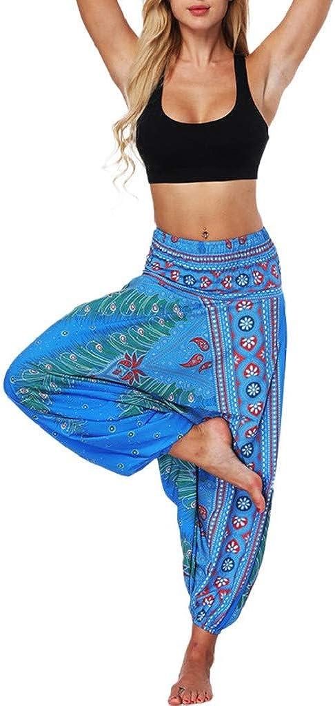 Tailandeses Estampado Verano Cintura Alta Elastica para Yoga Casual Hippie Bohemia Gitana El/áStica Pantalones Dragon868 Verano 2020 Pantalones Hippies Mujer