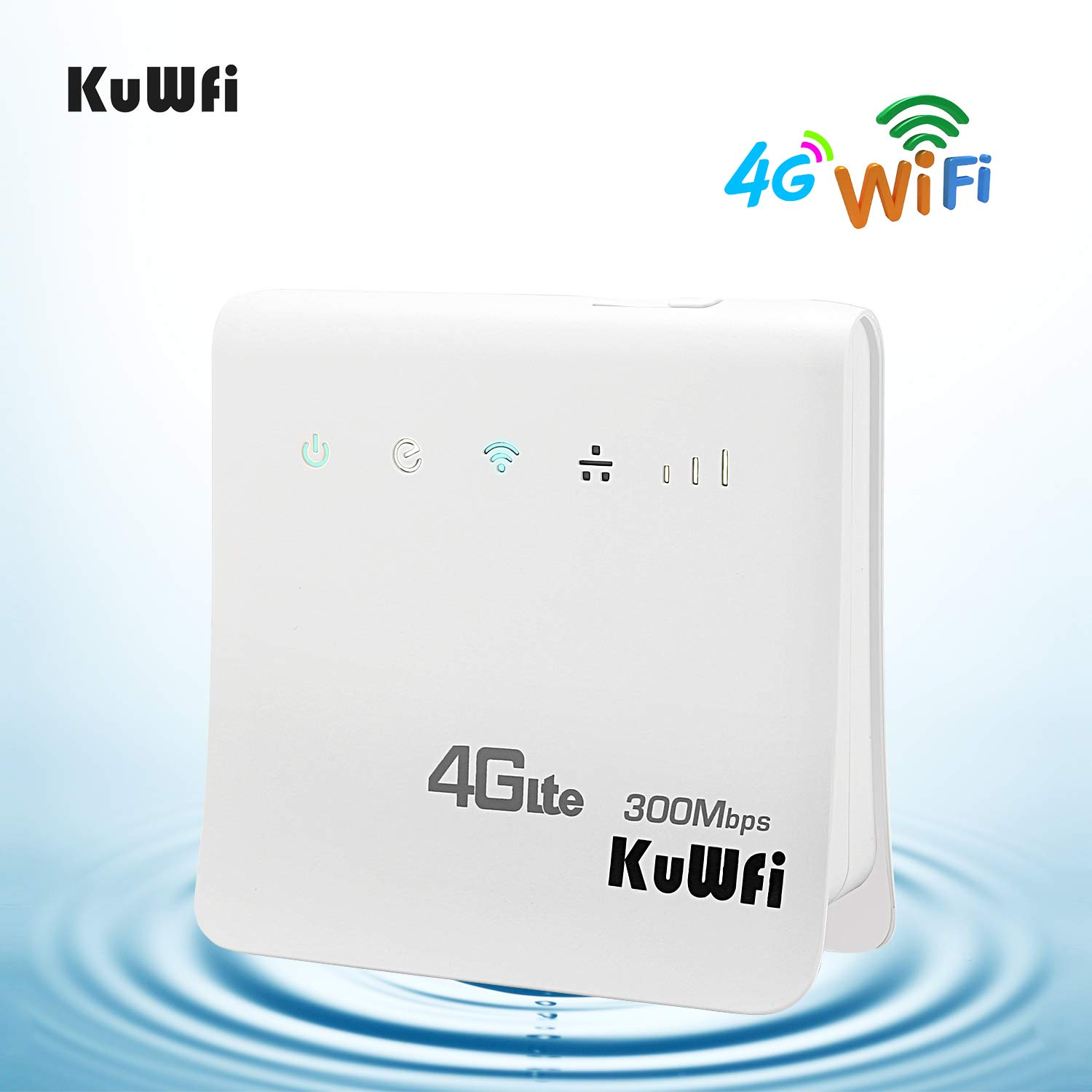 KuWFi 4G WiFi Router Unlocked 300Mbps LTE CPE Mobile WiFi Wireless Routers  Work with Optus/Telstra/Virgin Mobile/Vodafone SIM Card Support 32 Users