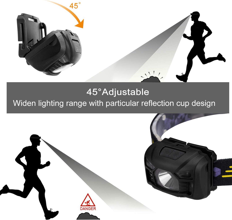 camping Linterna frontal LED superbrillante impermeable con sensor de luz de advertencia senderismo y leer para trabajar correr Six Foxes recargable