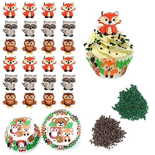 Woodland Cupcake Decorating Kit - Set Includes Fox Raccoon Owl Forest Animal Cupcake Topper Rings, Baking Liners, Green and Brown Sprinkles - For Baby Showers and Birthday Parties