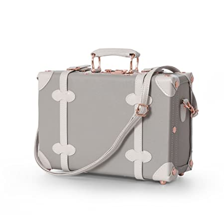 UNIWALKER 12 Inch Pu Leather Small Carry On Suitcase with Straps Grey with white