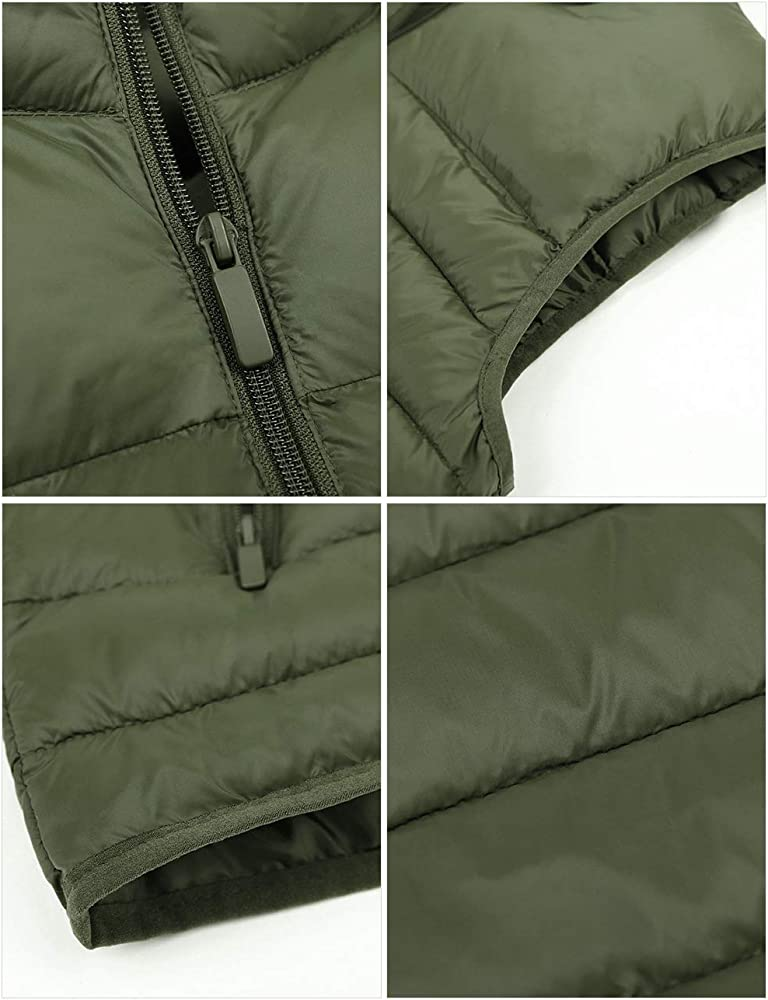 TeamWorld Mens Winter Autumn Outdoor Down Gilets Quilted Body Warmer Light-Weight Hooded Sleeveless Jacket Outdoor Waistcoats Ideal for Travel,Hiking,Business Trip,Camping,Hunting,Working,Daily Wear