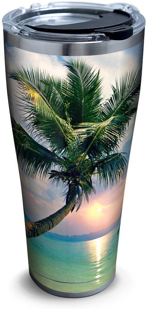 Tervis 1261334 Sunset In Paradise Stainless Steel Tumbler with Clear and Black Hammer Lid 30oz, Silver