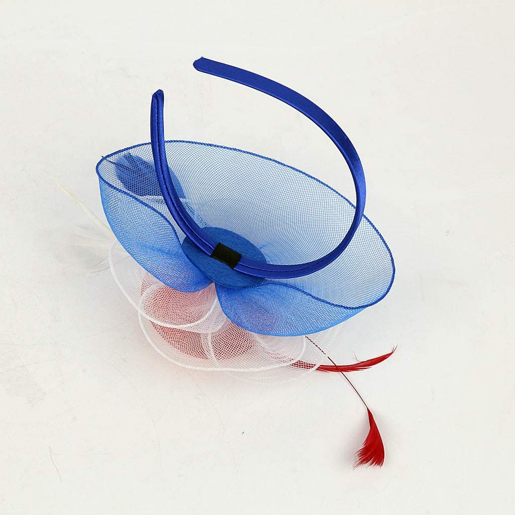 Feather Fascinators Womens Flower Hat for Cocktail Ball Wedding Church Tea Party