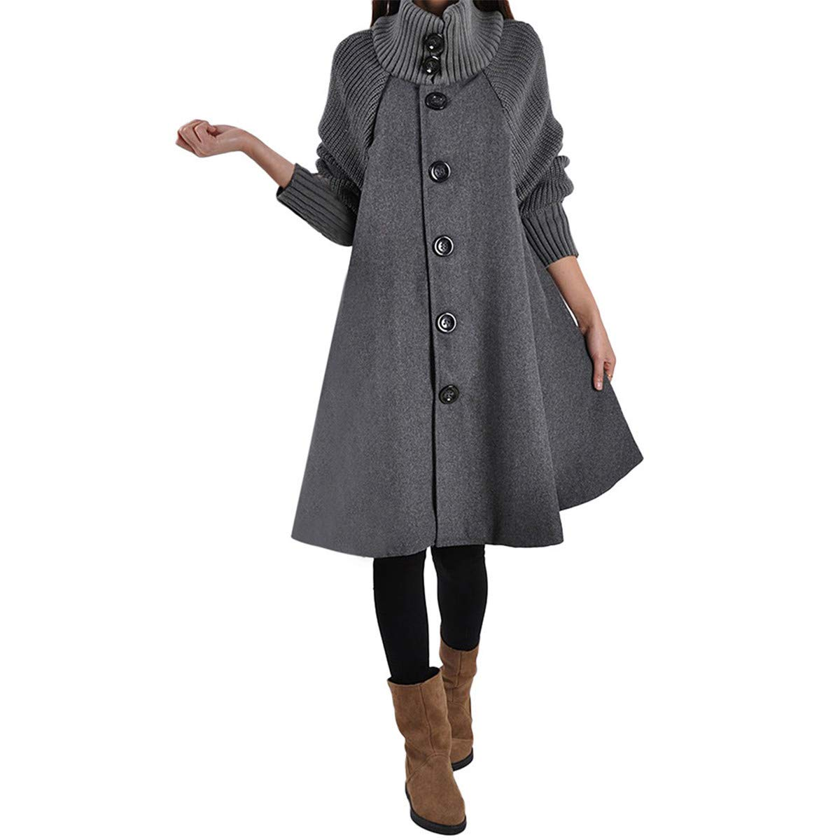 Thenxin Women's Stylish Cloak Overcoat Turtleneck Long Sleeve Loose Single Breasted Dress Outwear(Gray,M) by Thenxin