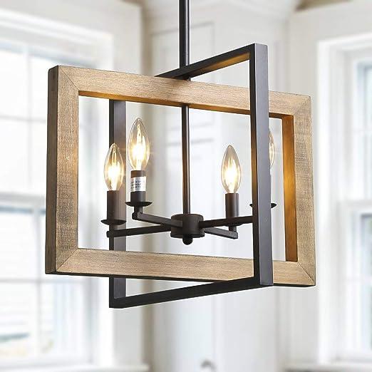 Faux-Wood Finish LOG BARN Farmhouse Chandelier 4-Light Dining Room Lighting Fixtures Hanging