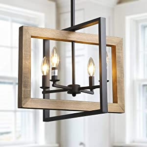 "Log Barn 4 Lights Country Chandeliers, Farmhouse Kitchen Island Pendant Lighting in Distressed Wood and Matte Black Metal Finish, 18"" Small Dining Room Light Fixture, A03430"